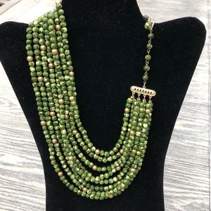 Vintage 8 Strand Green Necklace marked Hong Kong
